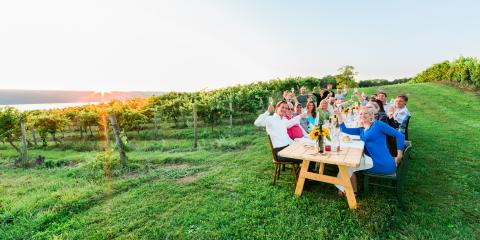 Vineyard table overlooking Seneca Lake