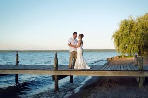 Wedding on a dock on Seneca Lake