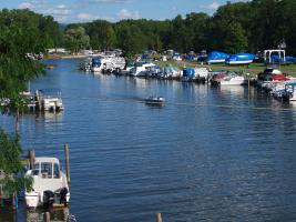 Boating on the channel near Seneca Lake